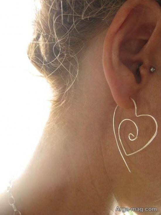 گوشواره قلبی با سیم مفتول