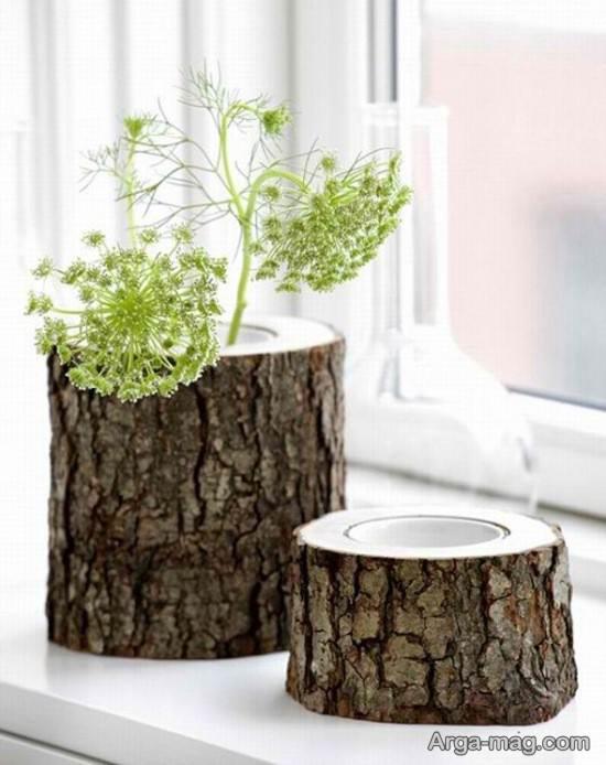 ساخت گلدان با تنه درخت