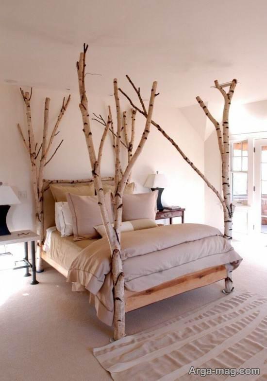 تزیین تخت خواب با شاخه های چوبی درختان