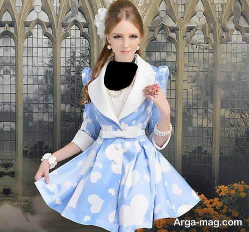 مدل مانتو طرح دار دخترانه عروسکی