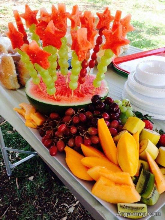 تزیین انگور و هندوانه شب یلدا
