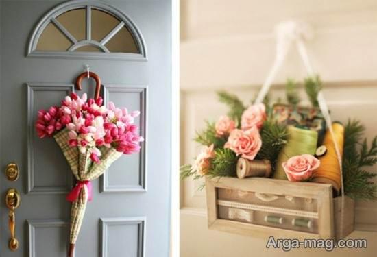 دیزاین درب ورودی منزل با گل و چتر