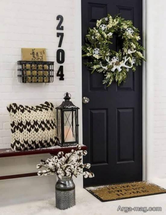 دیزاین درب منزل با حلقه گل