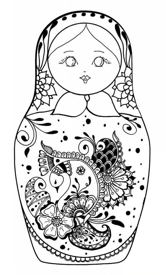 طرح رنگ آمیزی عروسک روسی