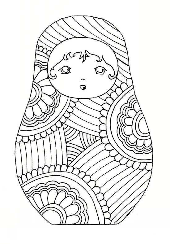 طرح زیبا عروسک روسی برای رنگ آمیزی