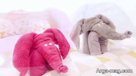 تزیین عالی حوله عروس و داماد به شکل فیل