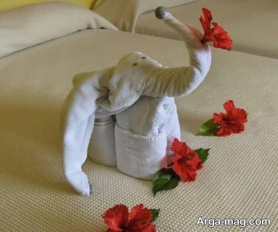 تزیین زیبا حوله عروس به شکل فیل