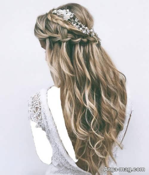 مدل آرایش موی باز و ساده عروس