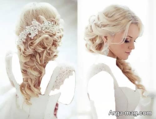 مدل شینیون موی فر عروس