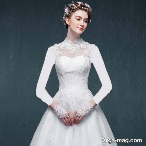 مدل لباس عروس با یقه پرنسسی زیبا