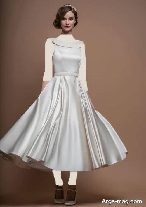 مدل لباس عروس کوتاه با یقه پرنسسی ایستاده