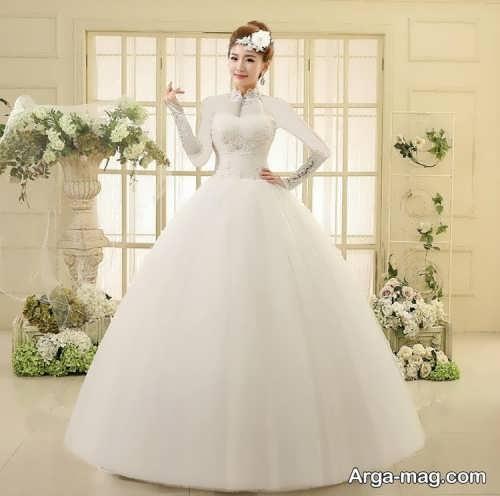 مدل لباس عروس کره ای یقه پرنسسی