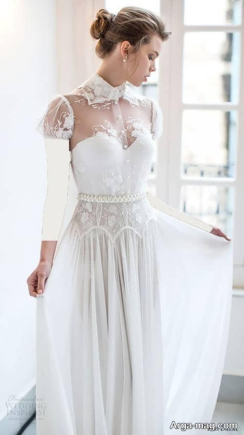 لباس عروس بلند یقه پرنسسی