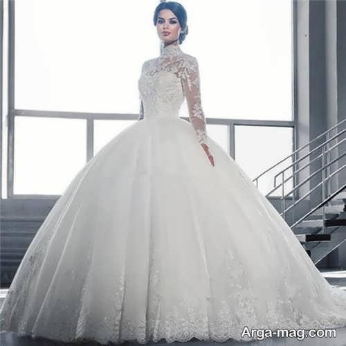 مدل لباس عروس یقه پرنسسی پوشیده و شیک