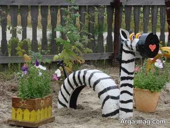 ساخت مجسمه حیوانات با لاستیک ماشین