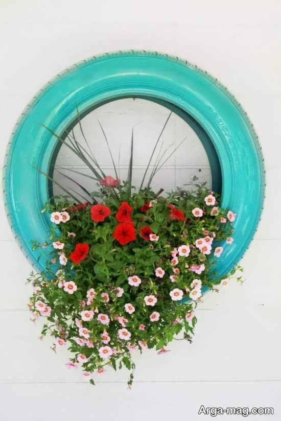 دکور حلقه گل زیبا با لاستیک ماشین