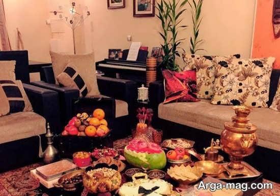 تزیین عالی میز شب یلدا همراه با میوه آرایی