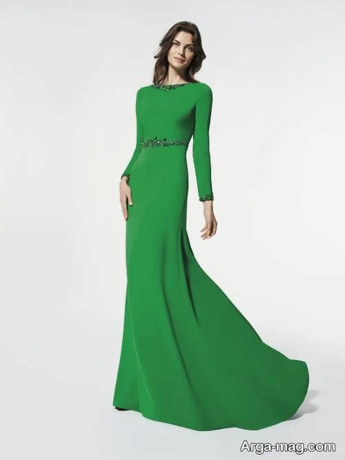 مدل لباس مجلسی سبز و پوشیده 2018
