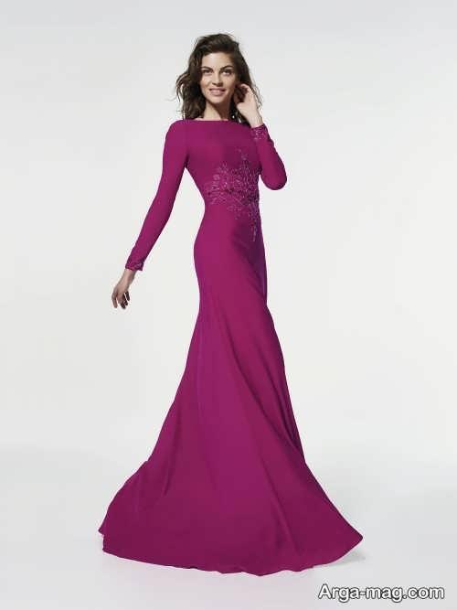 مدل لباس مجلسی آستین دار و شیک 2018