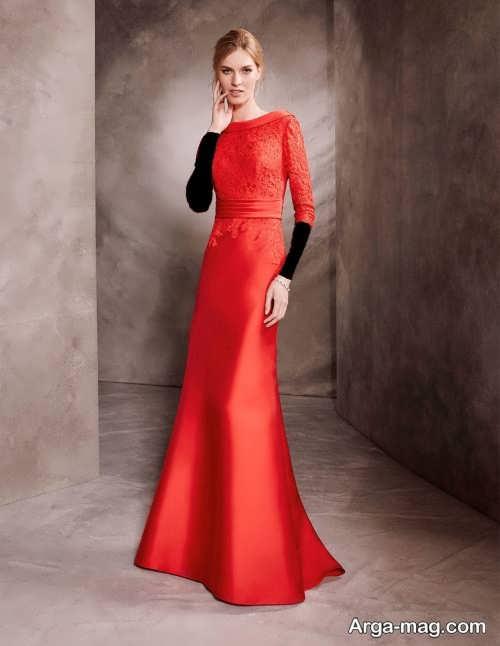 مدل لباس مجلسی پوشیده قرمز