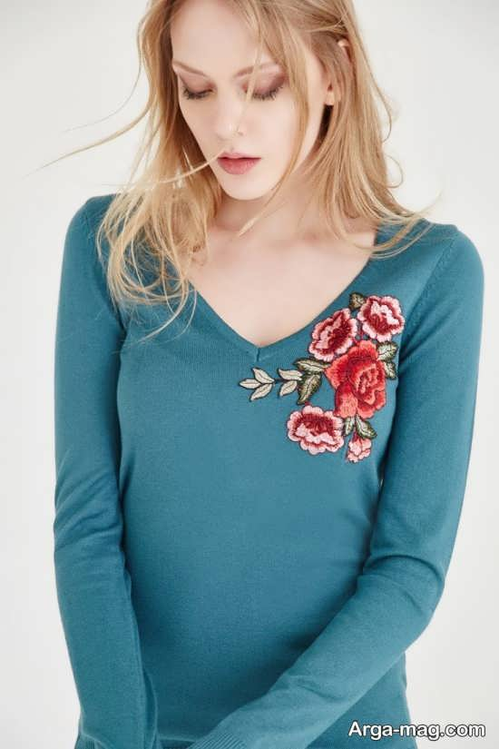 مدل لباس بافتنی زنانه گلدوزی شده