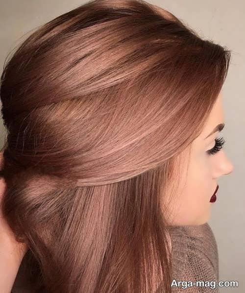 رنگ مو قهوه ای نسکافه ای بدون دکلره