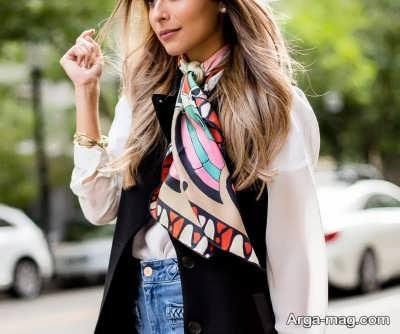 نحوه متفاوت بستن دستمال گردن زنانه