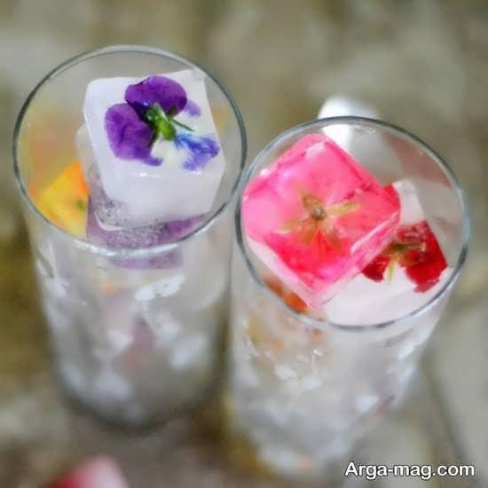 تزیین زیبا یخ با گل یخچال عروس