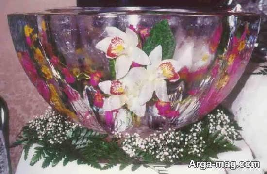 تزیین زیبا یخ کاسه ای با گل