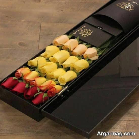 تزئین جعبه رز رنگارنگ