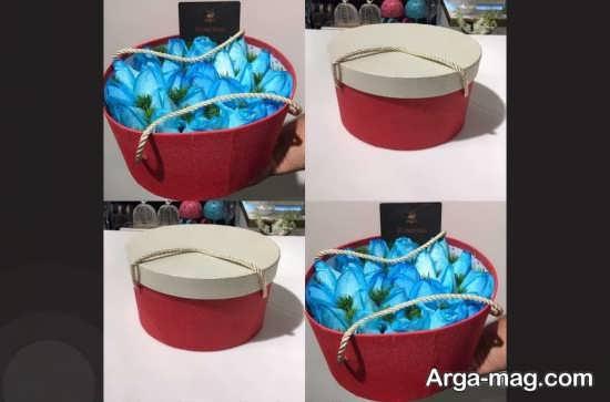 تزئین گل آبی جعبه ای