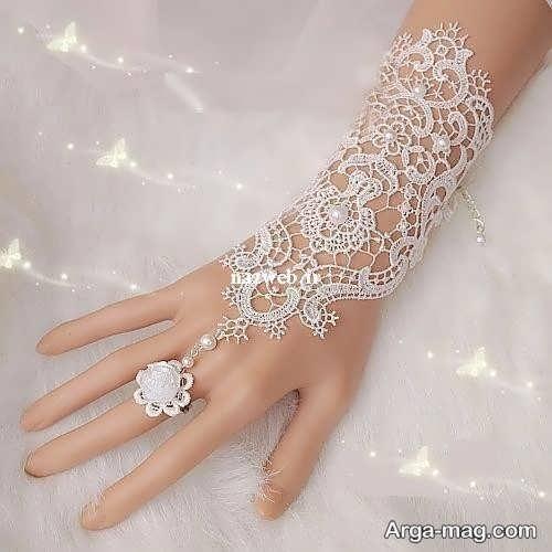 مدل دستکش دانتل و کار شده برای عروس