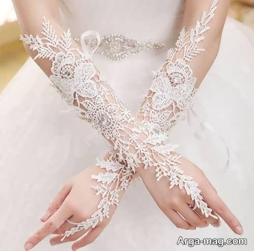 مدل دستکش کار شده برای عروس