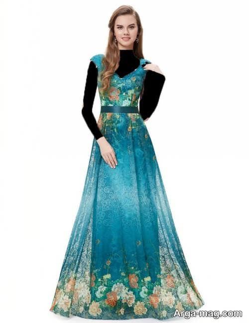 مدل لباس مجلسی طرح دار دخترانه