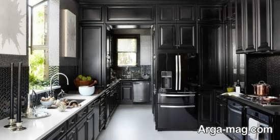 مدل کابینت آشپزخانه با تم مشکی