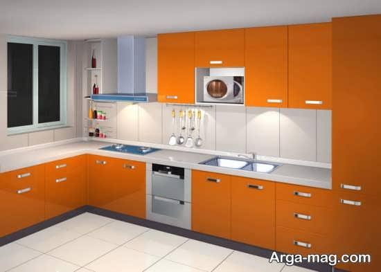مدل کابینت آشپزخانه مدرن با تم نارنجی