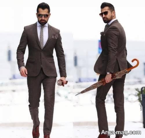 مدل کت و شلوار رسمی مردانه قهوه ای
