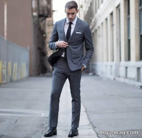مدل کت و شلوار خاکستری و ساده مردانه