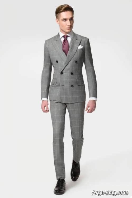 کت و شلوار خاکستری و طرح دار مردانه