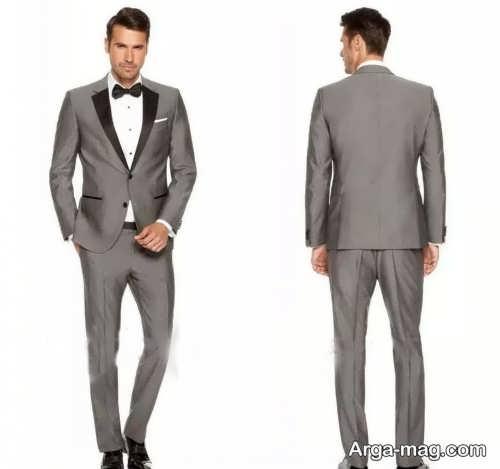 کت و شلوار خاکستری و ساده مردانه