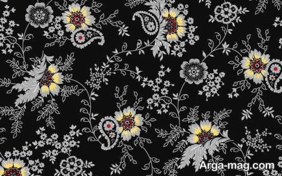 کاغذ دیواری زمینه مشکی با طرح گل