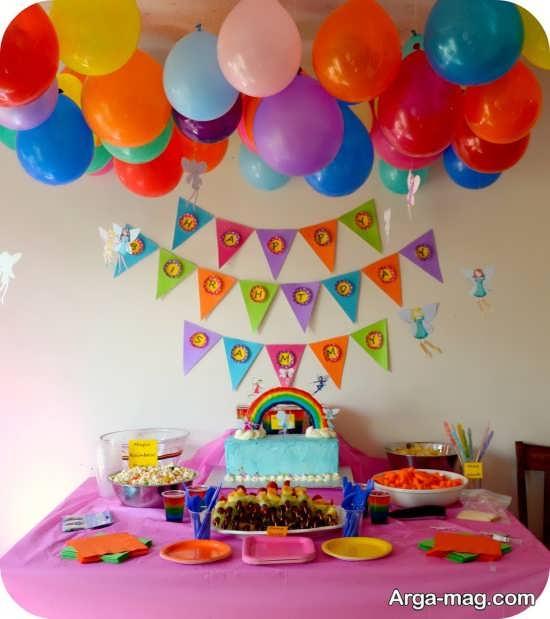 تزیین اتاق جشن تولد با تم رنگین کمان