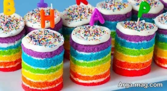 تزیین کیک با تم رنگین کمان