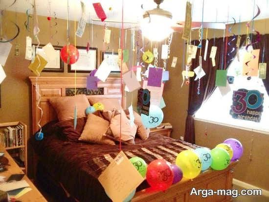تزیین عالی اتاق خواب با تم تولد رمانتیک