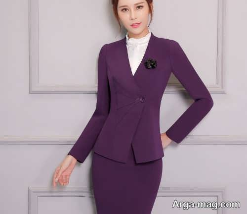 مدل کت و دامن بنفش زنانه