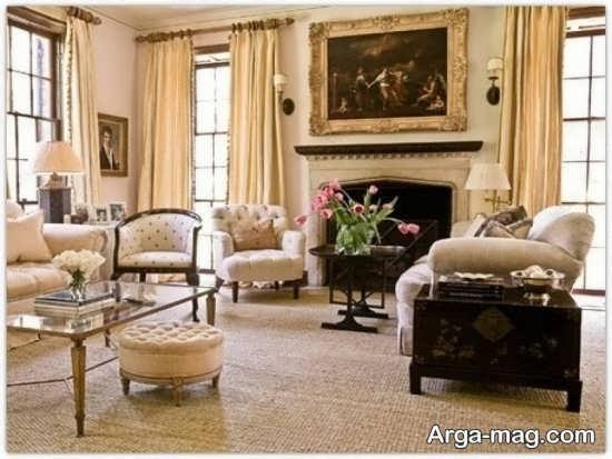 طراحی کلاسیک فضای داخلی اتاق نشیمن