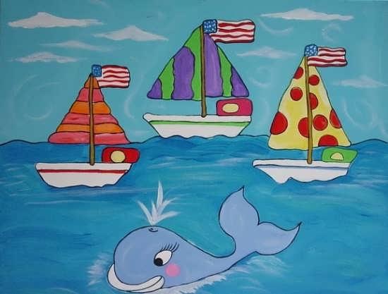 رنگ آمیزی نهنگ برای بچه ها