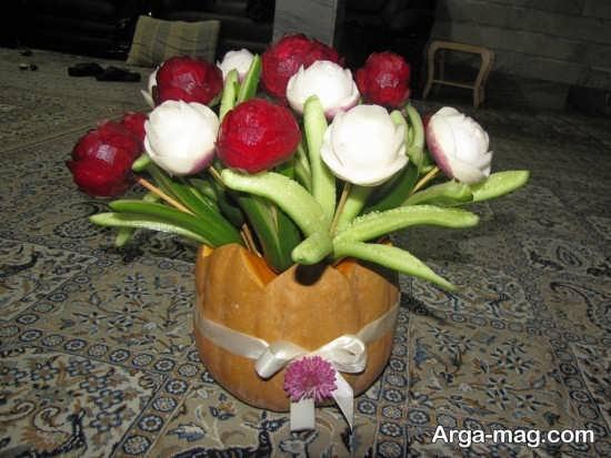 تزیین کدو حلوایی شب یلدا به شکل گلدان