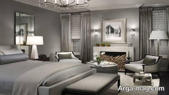 دکوراسیون اتاق خواب مدرن خاکستری
