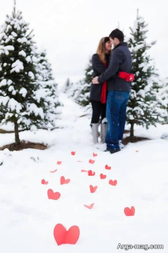 ژست عکس عاشقانه در برف